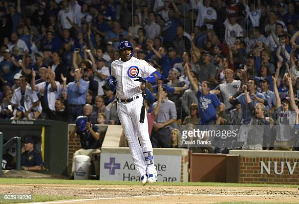 Jorge Soler of the Chicago Cubs watches his tworun homer against the Milwaukee Brewers during the second inning on September 15 2016 at Wrigley Field...