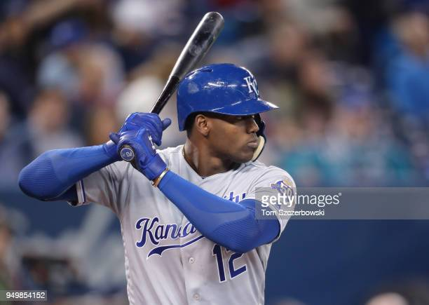 Jorge Soler of the Kansas City Royals bats in the sixth inning during MLB game action against the Toronto Blue Jays at Rogers Centre on April 17 2018...