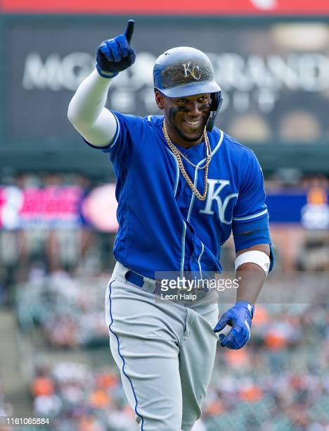 Jorge Soler of the Kansas City Royals celebrates a solo home run in the ninth inning of the game against the Detroit Tigers at Comerica Park on...