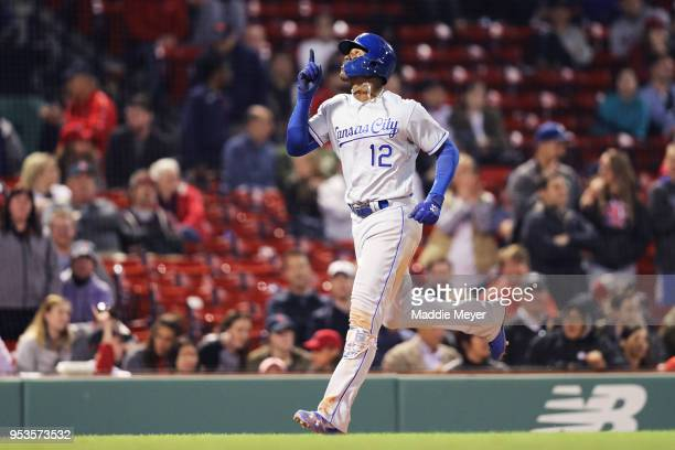Jorge Soler of the Kansas City Royals celebrates after hitting a three run home run against the Boston Red Sox during the thirteenth inning at Fenway...