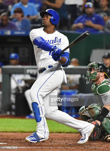 Jorge Soler of the Kansas City Royals hits a RBI double in the fifth inning against the Oakland Athletics at Kauffman Stadium on August 28, 2019 in...