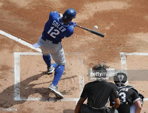 Jorge Soler of the Kansas City Royals hits a solo home run in the 1st inning against the Chicago White Sox at Guaranteed Rate Field on September 12,...