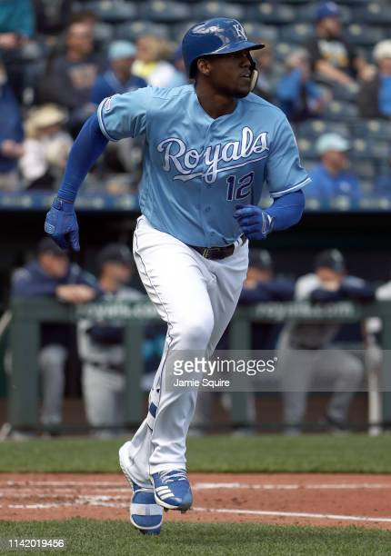 Jorge Soler of the Kansas City Royals hits a tworun home run during the 3rd inning of the game against the Seattle Mariners at Kauffman Stadium on...