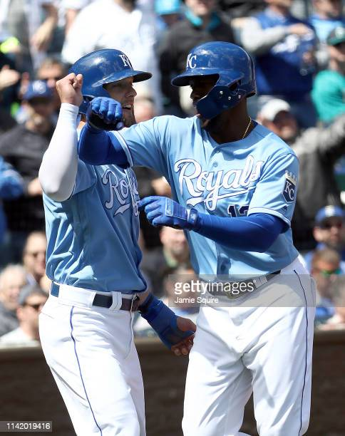Jorge Soler of the Kansas City Royals is congratulated by Alex Gordon after hitting a tworun home run during the 3rd inning of the game against the...