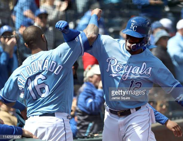 Jorge Soler of the Kansas City Royals is congratulated by Martin Maldonado after hitting a tworun home run during the 3rd inning of the game against...