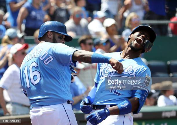 Jorge Soler of the Kansas City Royals is congratulated by Martin Maldonado after hitting a home run during the 5th inning of the game against the New...