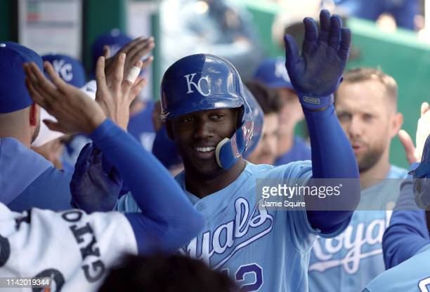 Jorge Soler of the Kansas City Royals is congratulated by teammates in the dugout after hitting a tworun home run during the 3rd inning of the game...