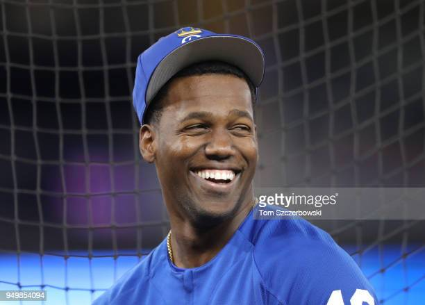 Jorge Soler of the Kansas City Royals laughs as he warms up during batting practice before the start of MLB game action against the Toronto Blue Jays...