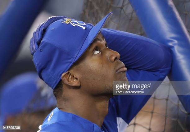 Jorge Soler of the Kansas City Royals looks up at the roof during batting batting practice before the start of MLB game action against the Toronto...