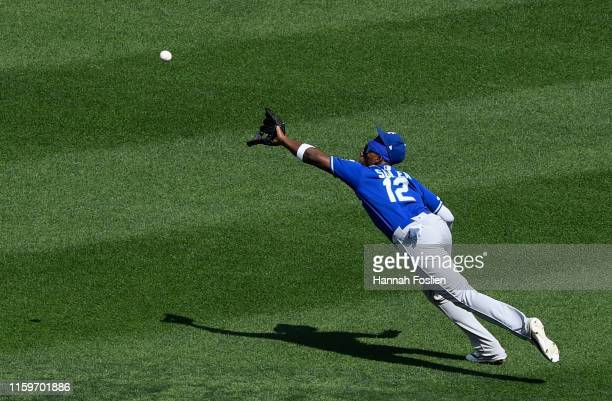 Jorge Soler of the Kansas City Royals makes a catch of a ball hit by Eddie Rosario of the Minnesota Twins in right field during the sixth inning of...