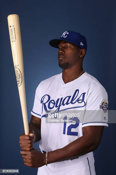 Jorge Soler of the Kansas City Royals poses for a portrait during photo day at Surprise Stadium on February 22 2018 in Surprise Arizona