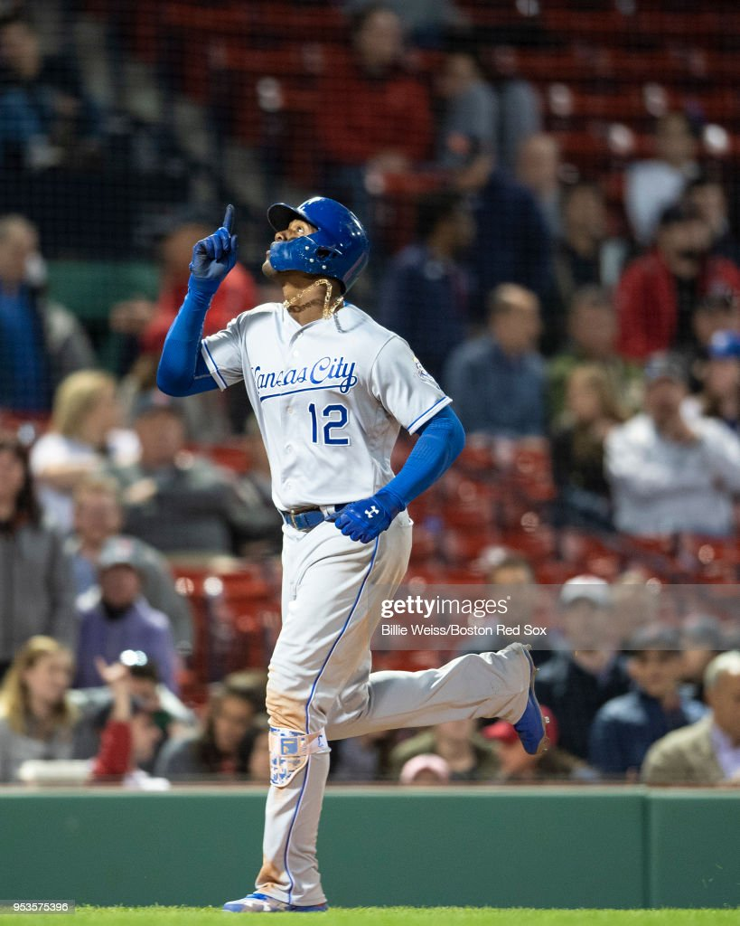 Jorge Soler #12 of the Kansas City Royals reacts after hitting a go ahead three run home run during the thirteenth inning of a game against the Boston Red Sox on May 1, 2018 at Fenway Park in Boston, Massachusetts.