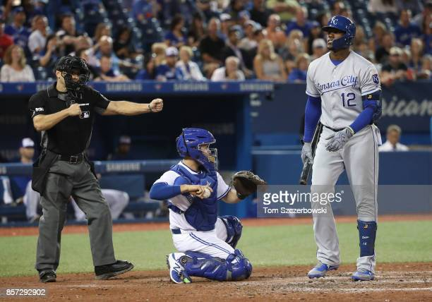 Jorge Soler of the Kansas City Royals reacts as he is called out on strikes by home plate umpire Mark Wegner in the eighth inning during MLB game...