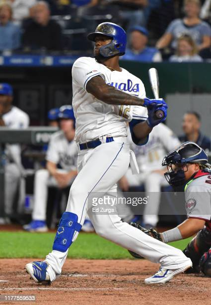 Jorge Soler of the Kansas City Royals single in the third inning against the Minnesota Twins at Kauffman Stadium on September 27, 2019 in Kansas...