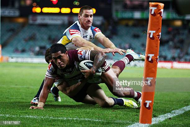 Jorge Taufua of the Eagles heads for the try line during the NRL Semi Final match between the Manly Sea Eagles and the North Queensland Cowboys at...