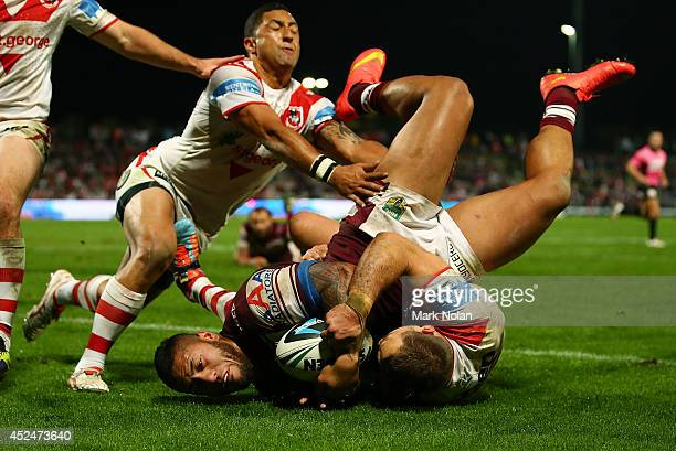 Jorge Taufua of the Eagles scores a try during the round 19 NRL match between the St George Dragons and the Manly Sea Eagles at WIN Jubilee Stadium...