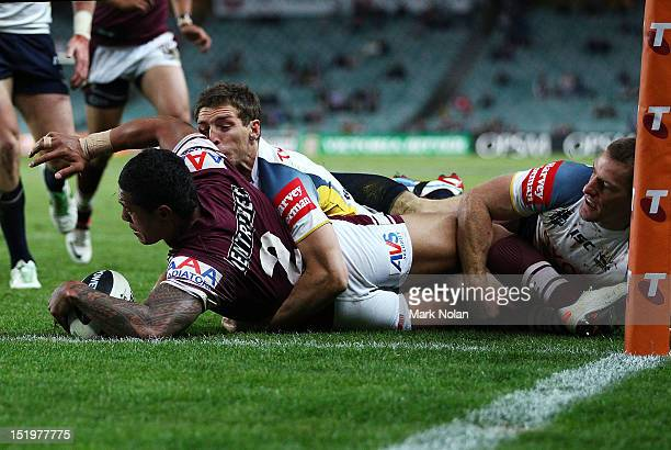 Jorge Taufua of the Eagles scores during the NRL Semi Final match between the Manly Sea Eagles and the North Queensland Cowboys at Allianz Stadium on...