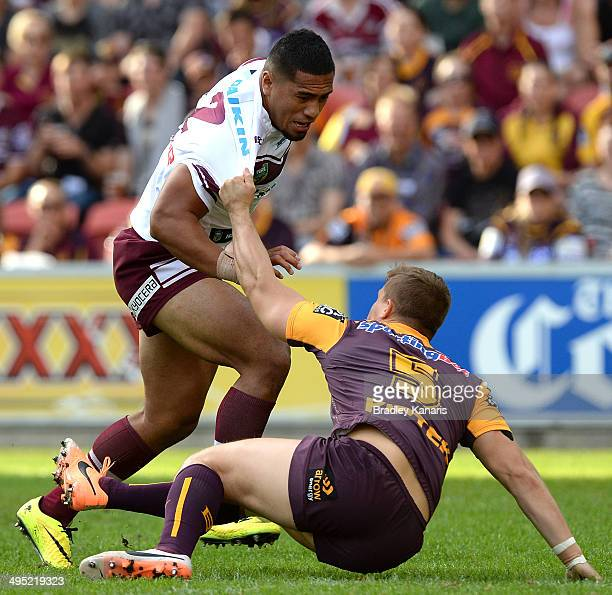 Jorge Taufua of the Sea Eagles attempts to break through the defence during the round 12 NRL match between the Brisbane Broncos and the...