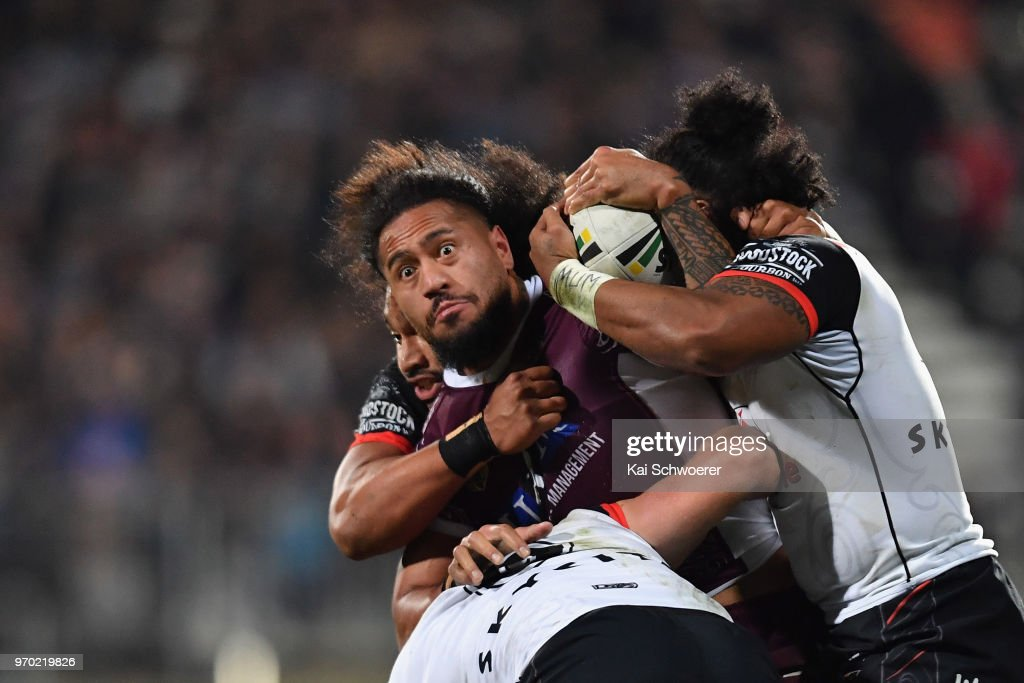 Jorge Taufua of the Sea Eagles is tackled during the round 14 NRL match between the Manly Sea Eagles and the New Zealand Warriors at AMI Stadium on June 9, 2018 in Christchurch, New Zealand.