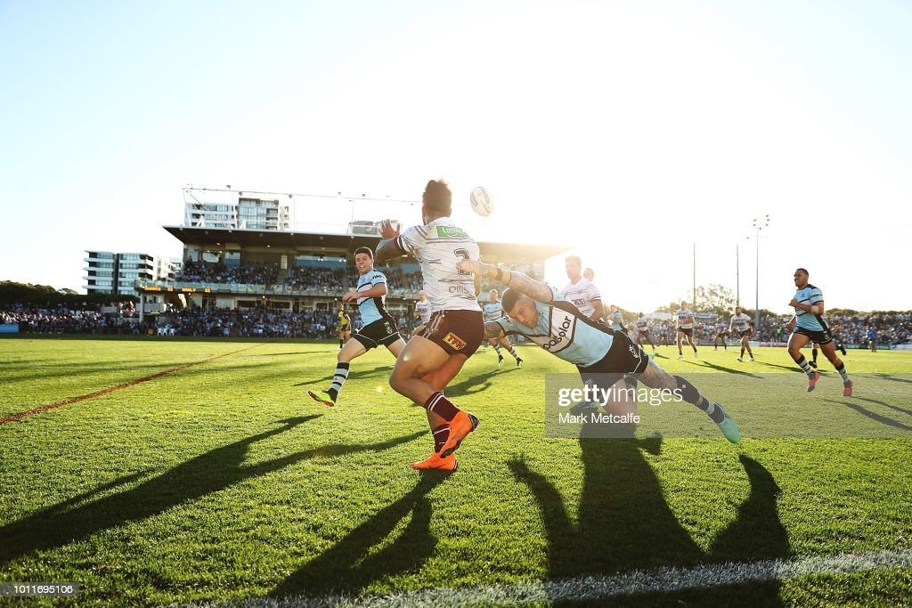 Jorge Taufua of the Sea Eagles is tackled during the round 21 NRL match between the Cronulla Sharks and the Manly Sea Eagles at Southern Cross Group Stadium on August 5, 2018 in Sydney, Australia.