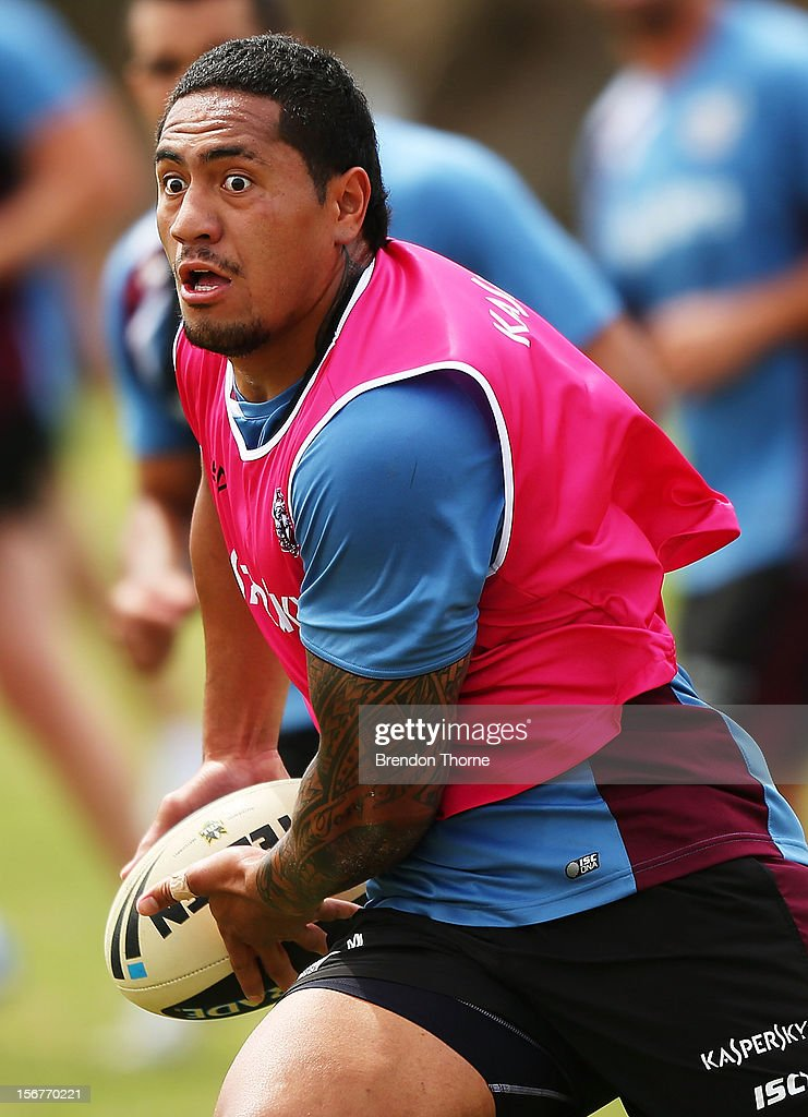 Jorge Taufua of the Sea Eagles runs the ball during a Manly Sea Eagles NRL pre-season training session at Sydney Academy of Sport on November 21, 2012 in Sydney, Australia.