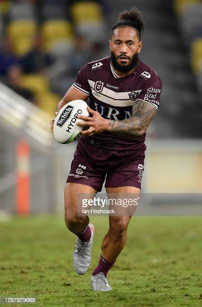Jorge Taufua of the Sea Eagles runs the ball during the round 11 NRL match between the North Queensland Cowboys and the Manly Warringah Sea Eagles at...