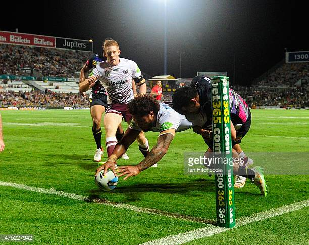 Jorge Taufua of the Sea Eagles scores a try during the round 12 NRL match between the North Queensland Cowboys and the Manly Sea Eagles at 1300SMILES...