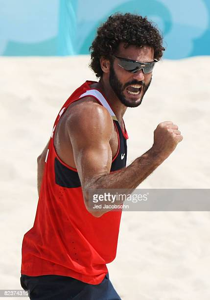 Jorge Terceiro of Georgia reacts as he and partner Renato Gomes take on Clemens Doppler and Peter Gartmayer of Austria in the beach volleyball event...