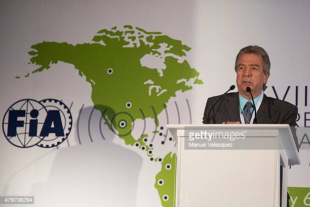 Jorge Tomasi President of FIA Region IV gives a speech during the XVII Congreso Americano FIA 2015 at Hyatt Regency Mexico City on July 06, 2015 in...