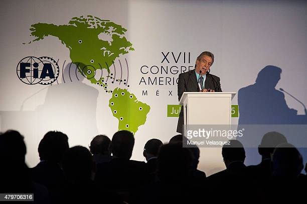 Jorge Tomasi President of FIA Region IV speaks during the XVII Congreso Americano FIA 2015 at Hyatt Regency Mexico City on July 06, 2015 in Mexico...