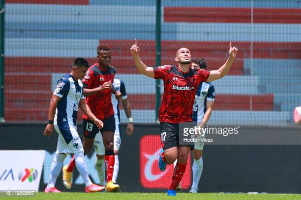 Jorge Torres Nilo of Toluca celebrates after scoring the first goal of his team during the 14th round match between Toluca and Monterrey as part of...