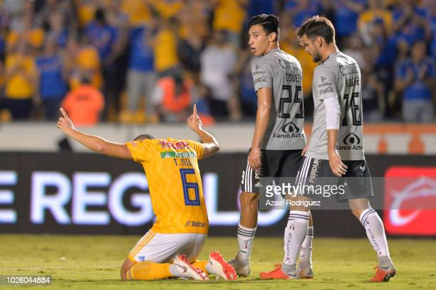 Jorge Torres of Tigres celebrates after scoring his teams first goal during the 6th round match between Tigres UANL and Veracruz as part of the...