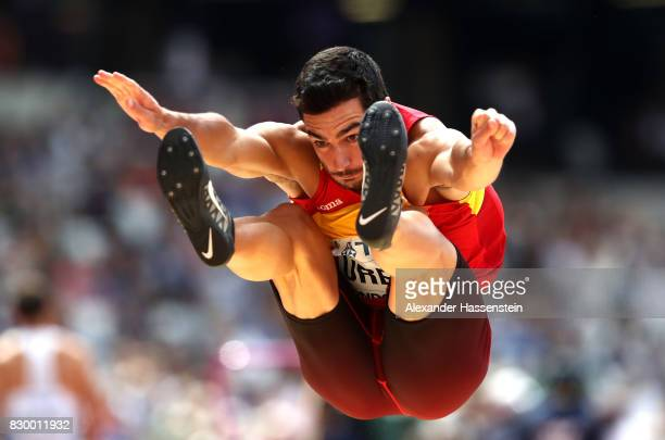 Jorge Urena of Spain competes in the Men's Decathlon Long Jump during day eight of the 16th IAAF World Athletics Championships London 2017 at The...