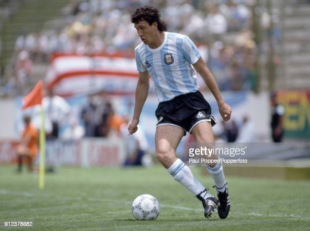 Jorge Valdano in action for Argentina during the FIFA World Cup match between Italy and Argentina at the Estadio Cuauhtemoc in Puebla 5th June 1986...