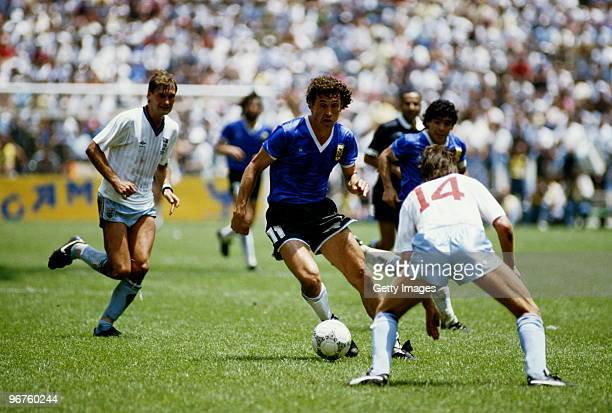 Jorge Valdano of Argentina attempts to pass Terry Fenwick during the 1986 FIFA World Cup Quarter Final on 22 June 1986 at the Azteca Stadium in...