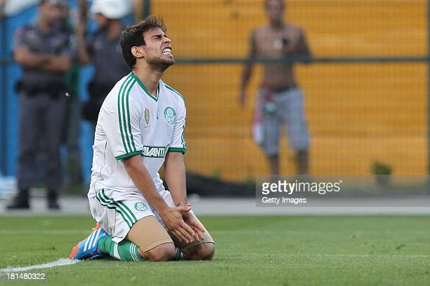 Jorge Valdivia from Palmeiras reacts to a lost goal during the match between Palmeiras and Sport for the Brazilian Series B 2013 at Pacaembu stadium...