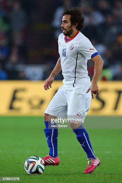 Jorge Valdivia of Chile controles the ball during the interntional friendly match between Germany and Chile at MercedesBenz Arena on March 5 2014 in...
