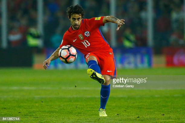 Jorge Valdivia of Chile kicks the ball during a match between Chile and Paraguay as part of FIFA 2018 World Cup Qualifiers at Monumental Stadium on...