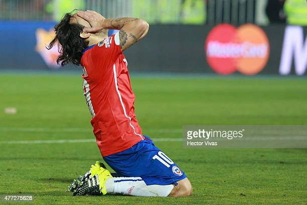 Jorge Valdivia of Chile laments after missing a chance at goal during the 2015 Copa America Chile Group A match between Chile and Mexico at Nacional...
