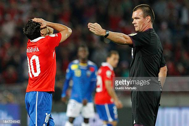Jorge Valdivia of Chile reacts during a match between Chile and Ecuador as part of the 18th round of the South American Qualifiers at Nacional...