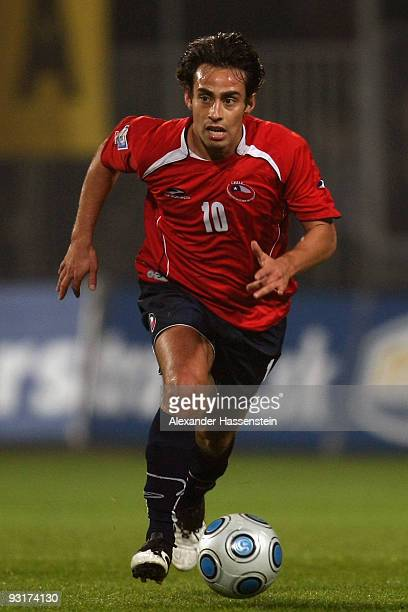 Jorge Valdivia of Chile runs with the ball during the international friendly match between Slovakia and Chile at the MSK Zilina stadium on November...