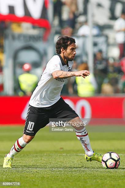 Jorge Valdivia of Colo Colo drives the ball during a match between Colo Colo and Universidad de Chile as part of Torneo Transicion 2017 at Monumental...