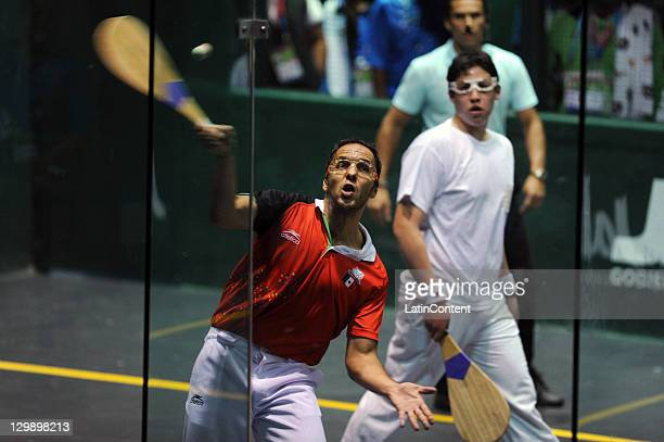 Jorge Verdeja and Adrian Raya of Mexico competes against Sebastian Orte and Alejandro Romero of Chile in men pelota during 2011 Pan American Games...