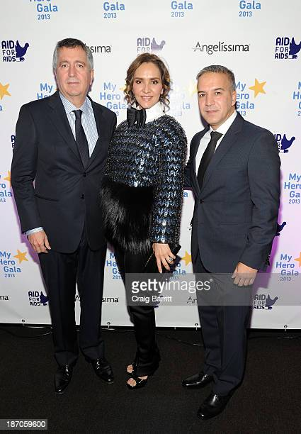 Jorge Vergara CEO of Grupo Omnilife Angelica Fuentes Tellez and human rights activist and founder of Aid for AIDS Int'l Jesus Aguais attend the Aid...
