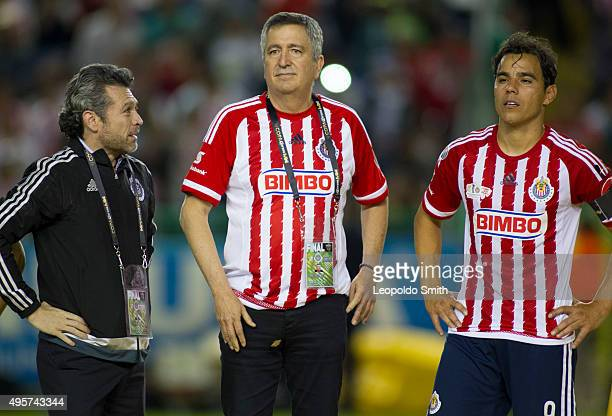 Jorge Vergara owner of Chivas and Omar Bravo wait for the trophy after the Final match between Leon and Chivas as part of the Copa MX Apertura 2015...