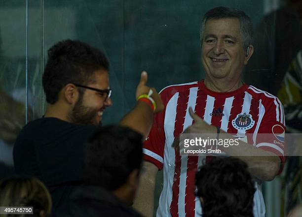 Jorge Vergara owner of Chivas talks in the suites during the Final match between Leon and Chivas as part of the Copa MX Apertura 2015 at Leon Stadium...
