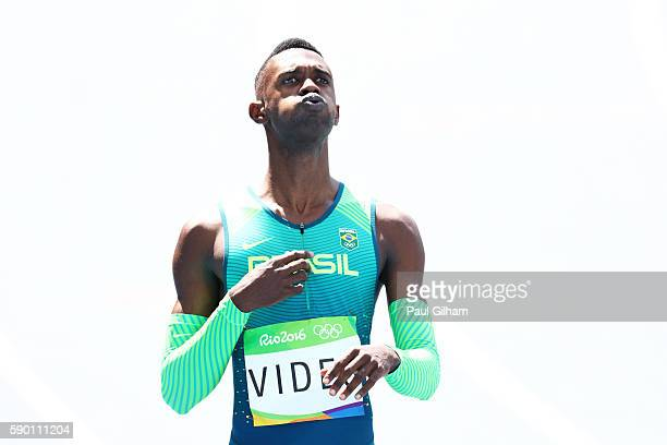 Jorge Vides of Brazil reacts after competing in the Men's 200m Round 1 Heat 4 on Day 11 of the Rio 2016 Olympic Games at the Olympic Stadium on...
