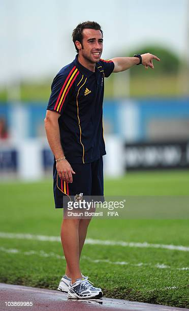 Jorge Vilda coach of Spain during the FIFA U17 Women's World Cup Group C match between Spain and Japan at the Ato Boldon Stadium on September 6 2010...