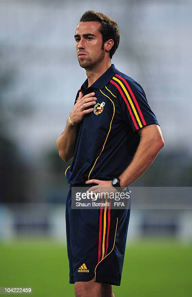 Jorge Vilda coach of Spain during the FIFA U17 Women's World Cup Quarter Final match between Spain and Brazil at the Ato Boldon Stadium on September...