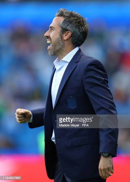 Jorge Vilda Head Coach of Spain celebrates her team's second goal during the 2019 FIFA Women's World Cup France group B match between Spain and South...